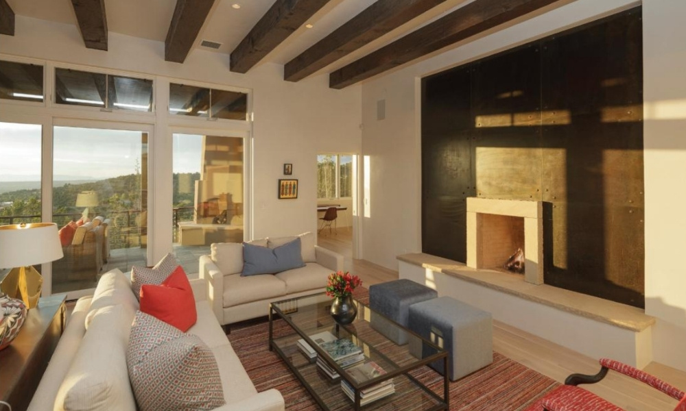 A stylish living room with a fireplace