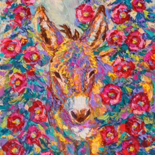 a painting of a burro in hollyhocks