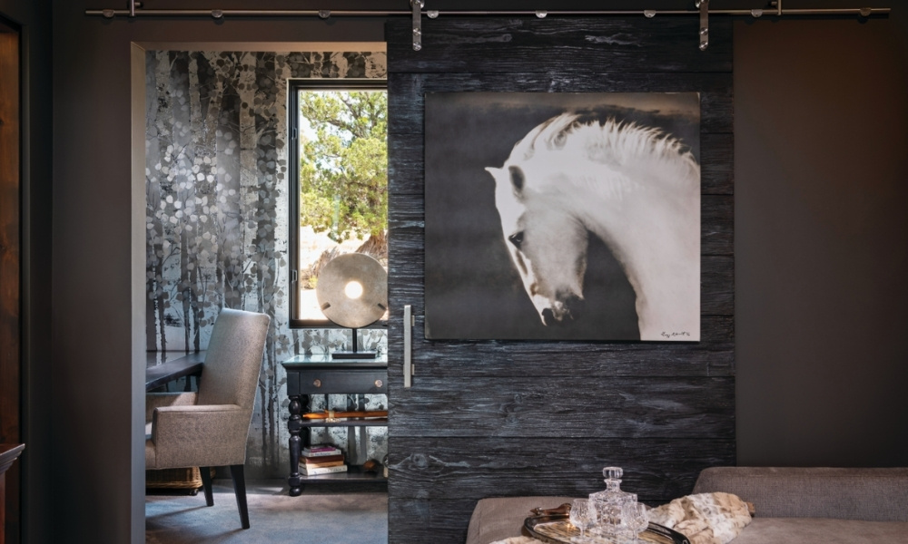 A painting of a white horse hangs on a rustic door