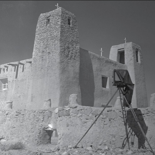 An old image of the church at Acoma Pueblo