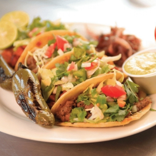 A plate of tacos from El Chile Toreado