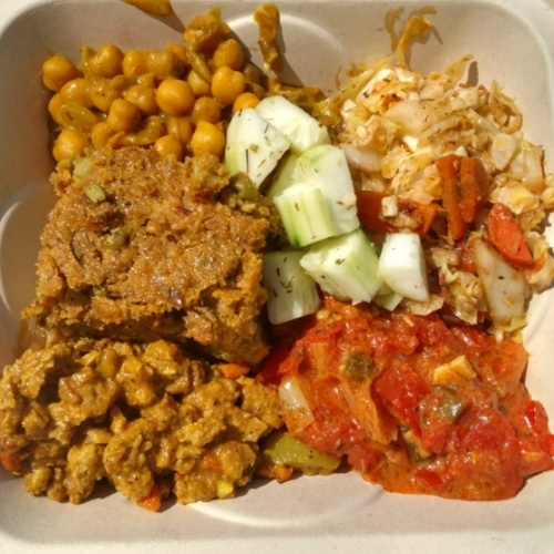 A plate of food from Ras Rody's Jamaican Vegan Kitchen
