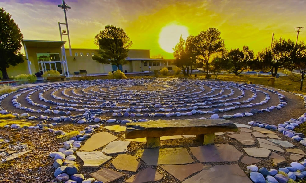 St. Bede's labyrinth is made from river rocks and fine gravel.