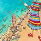 """Elizabeth Hahn, Catch of the Day, acrylic, 30"""" x 30"""". Courtesy of the artist."""