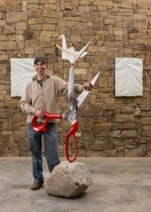 Kevin Box with his sculptures