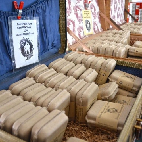 Goat soap for sale at a farmers market