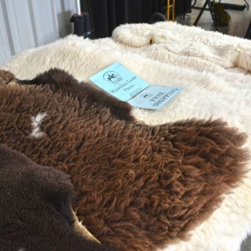 Animal skins at a farmers market
