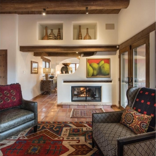A southwestern seating nook and fireplace