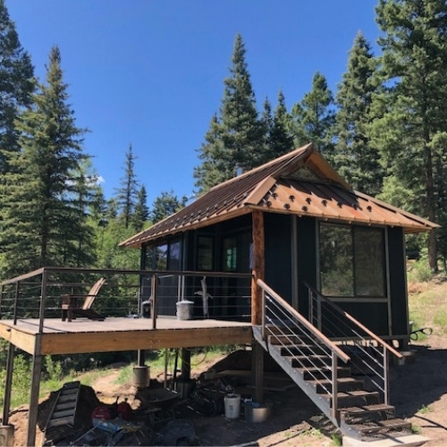 A tiny home in the mountains