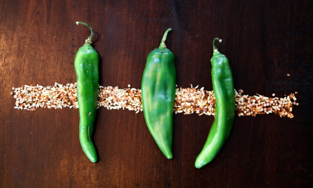 A row of green chiles