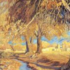A painting of cottonwoods in fall.