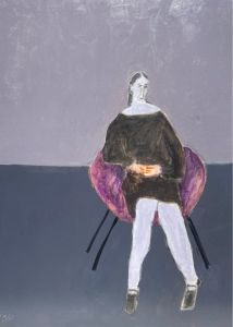 A painting of a woman in a purple chair