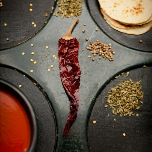 A dried red chile