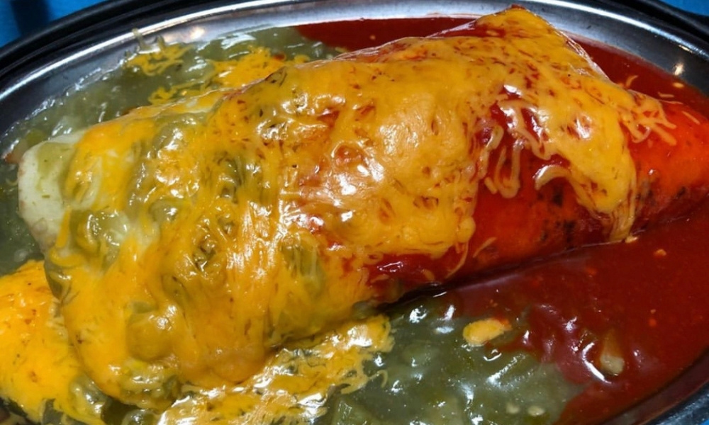 """A smothered burrito in New Mexico with """"Christmas"""" chile"""