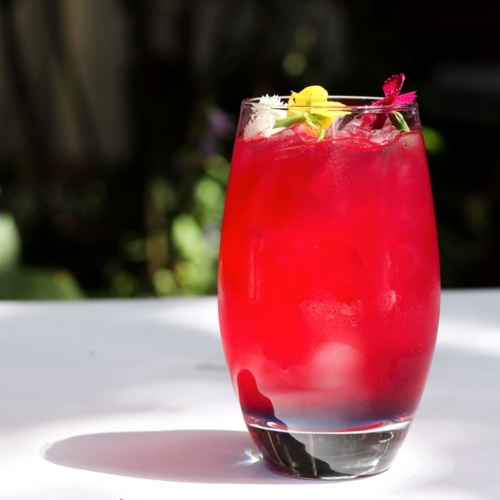A brightly colored cocktail