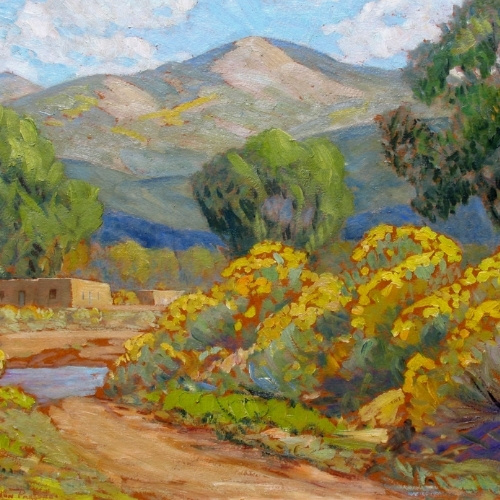 A pastel painting of a fall mountain scape