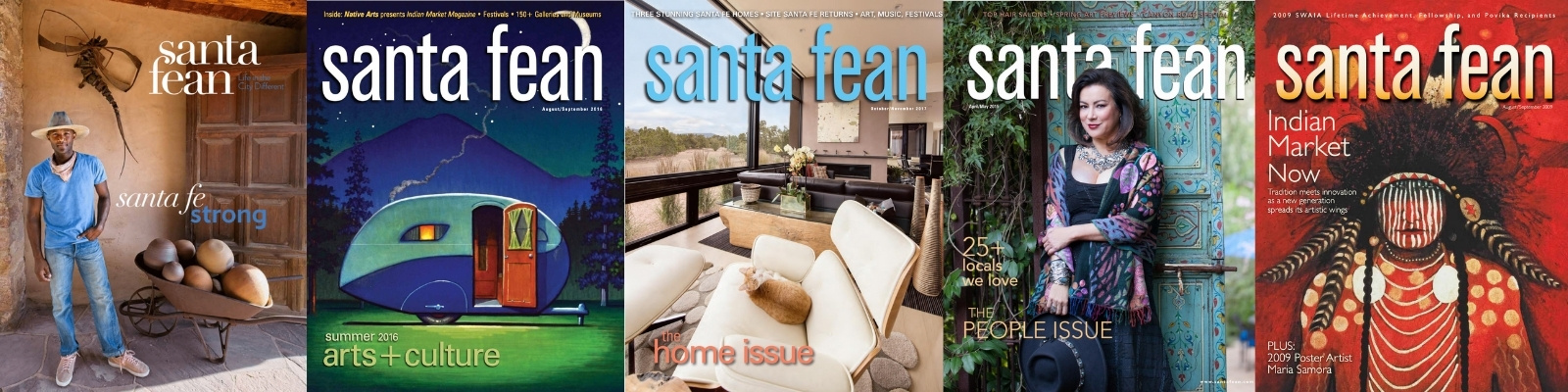 Past covers of the Santa Fean magazine