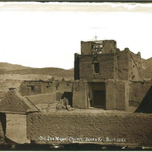 An old image of the San Miguel Church in Santa Fe