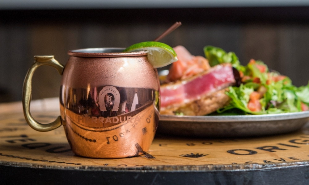 A Moscow Mule and an Ahi Tuna salad