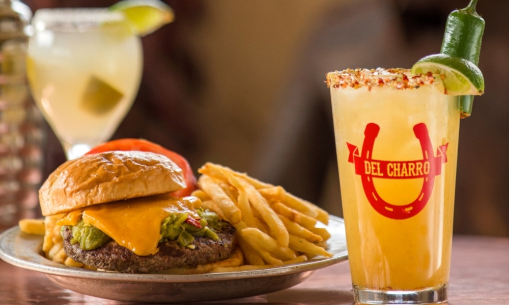 A green chile cheeseburger and a margarita