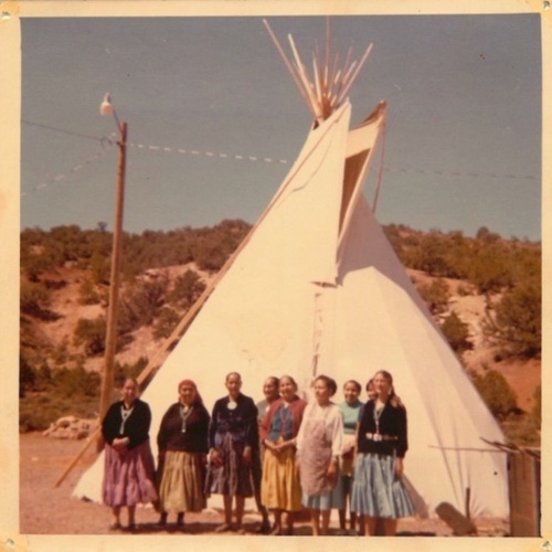 Dr. Erica M. Elliott (far right), standing with her Navajo grandmothers.