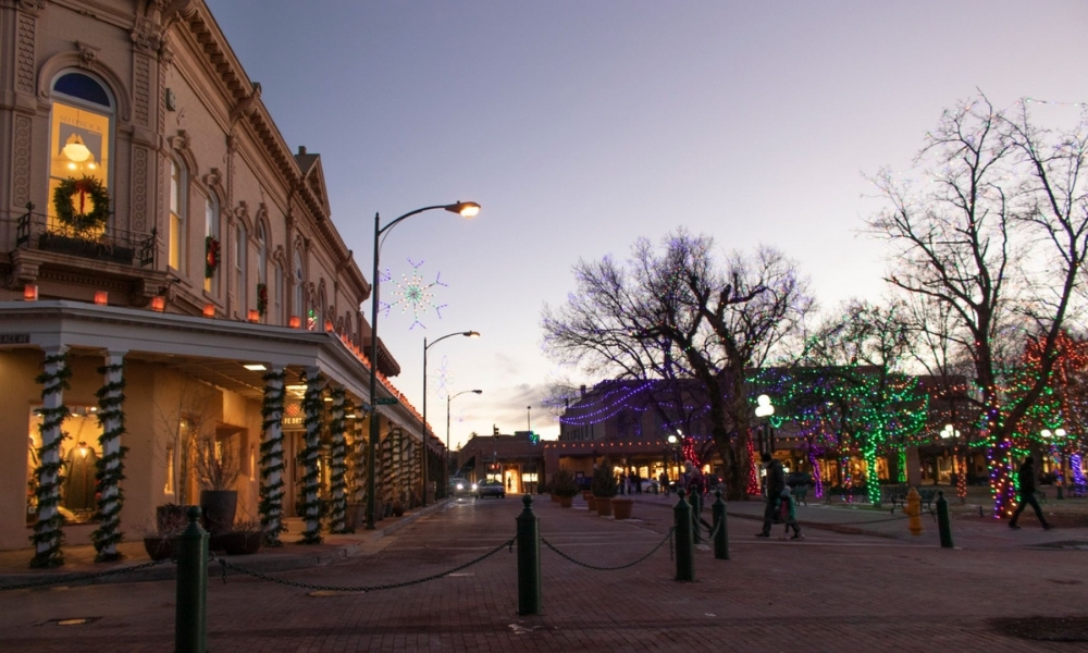 the Santa Fe Plaza in Winter
