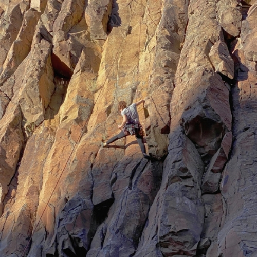 Rock climbing Diablo Canyon in New Mexico