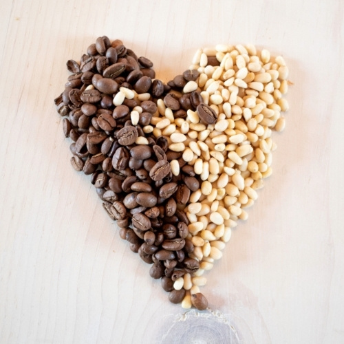 Piñon nuts and coffee beans